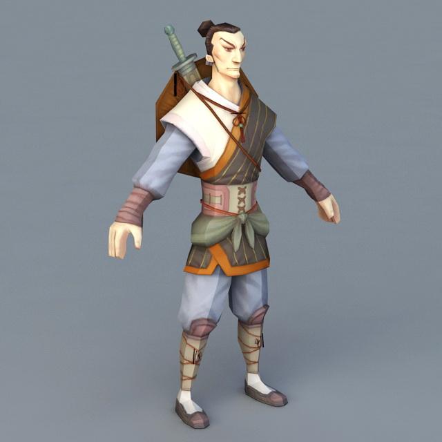 Cartoon Swordsman 3d rendering