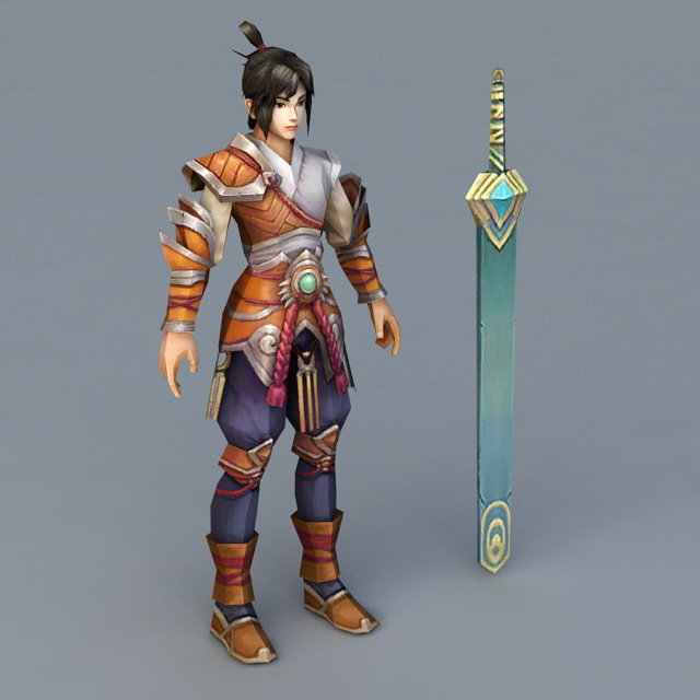 Awesome Anime Swordsman 3d rendering