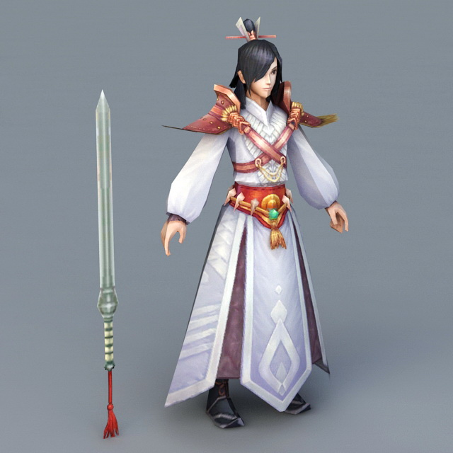 Anime Man with Sword 3d rendering