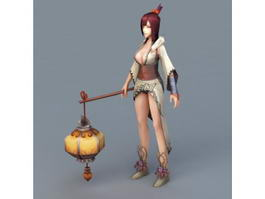 Japanese Girl Holding Lantern 3d preview