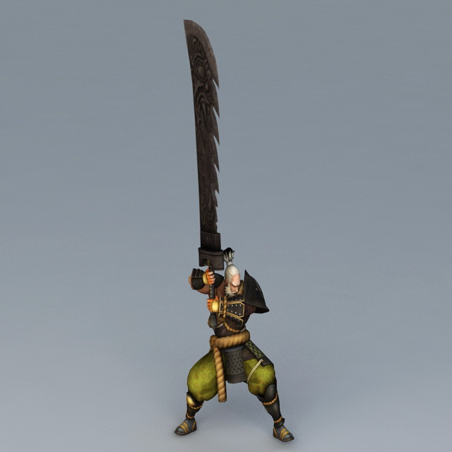 Samurai with Longest Sword 3d rendering