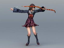 Female Samurai Archer 3d model preview