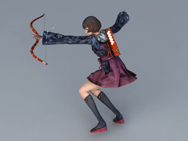 Female Samurai Archer 3d rendering