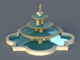 3 Tier Marble Fountain 3d preview
