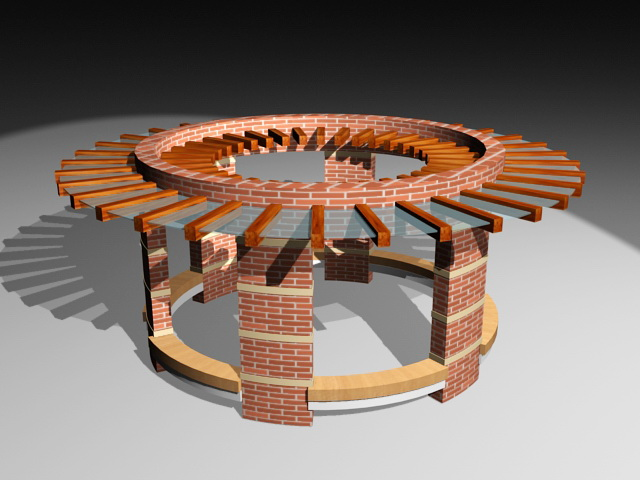 Circular Brick Pergola 3d rendering
