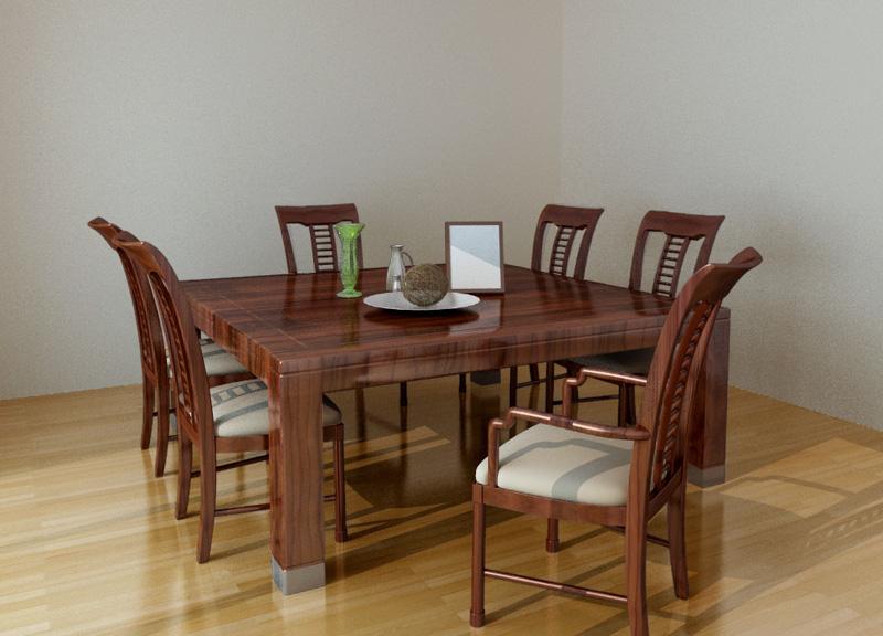 Family Dinner Table Set 3d rendering