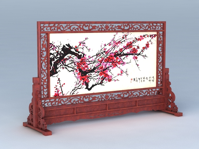 Antique Chinese Carved Screen 3d rendering
