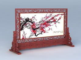 Antique Chinese Carved Screen 3d preview
