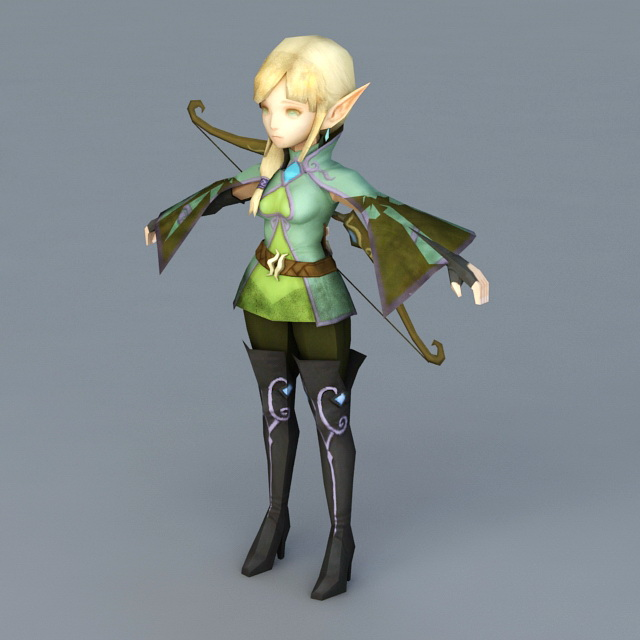 Anime Girl Elf Archer 3d Model 3ds Max,Object Files Free