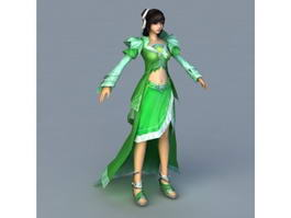 Green Girl Rigged 3d preview