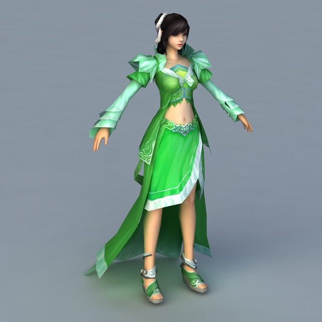 Green Girl Rigged 3d rendering