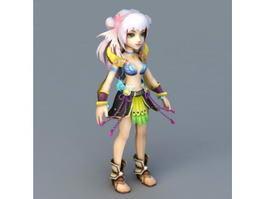 Anime Forest Spirit Girl 3d model preview