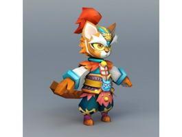 Tiger Warrior Cartoon 3d model preview