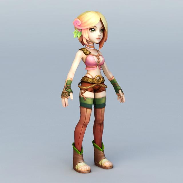 Anime Spirit Girl 3d rendering