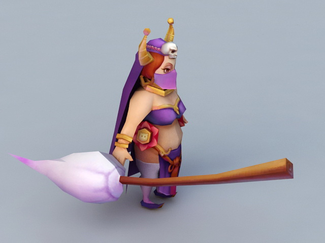 Cartoon Witch with Broom 3d rendering