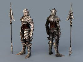 Warrior Armor with Spear 3d preview