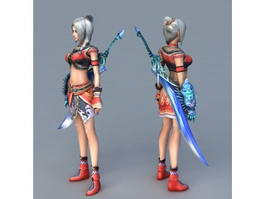 Female Warrior with Sword 3d model preview