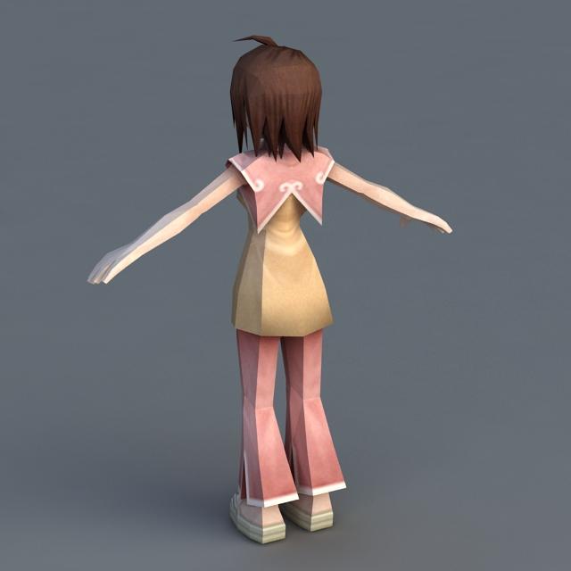 Anime Girl Rigged 3d rendering