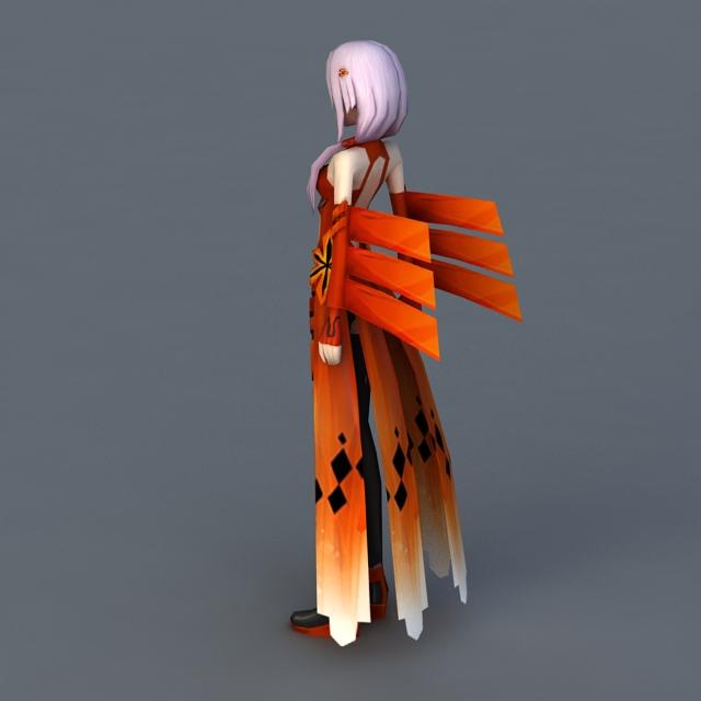Butterfly Anime Girl 3d rendering
