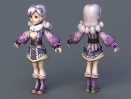Pretty Anime Lady 3d preview