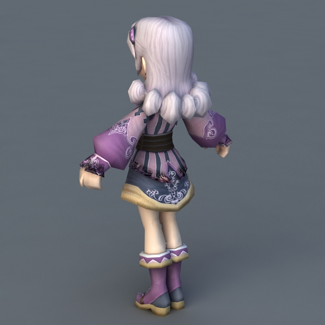 Pretty Anime Lady 3d rendering