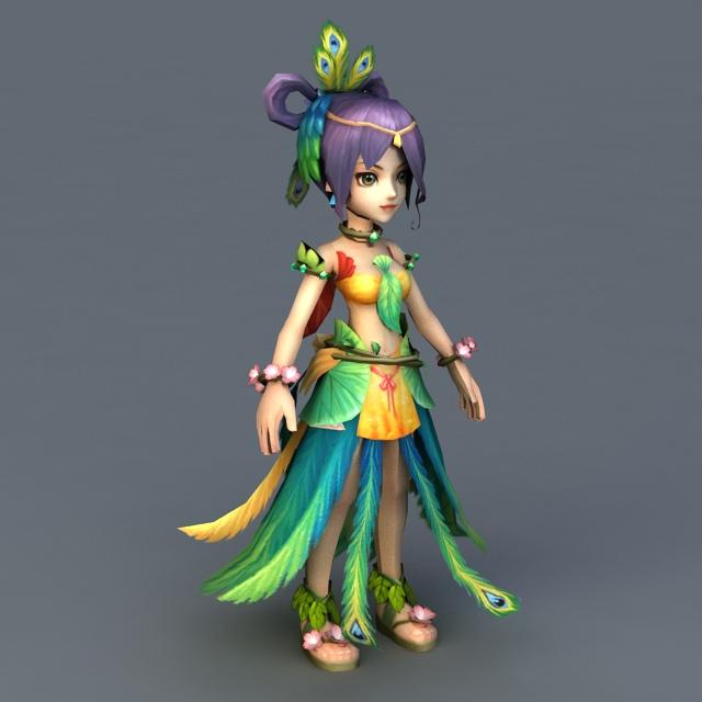 Peacock Fairy Queen 3d rendering