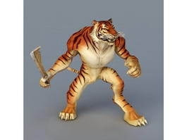 Tiger Warrior with Sword 3d model preview
