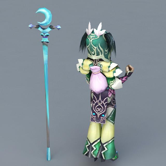 Female Anime Mage Girl 3d rendering