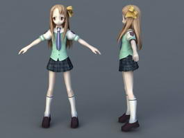 Anime Schoolgirl 3d preview