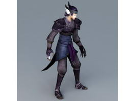anime demon with tail 3d model preview
