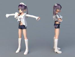Cute Anime Girl Nurse 3d model preview