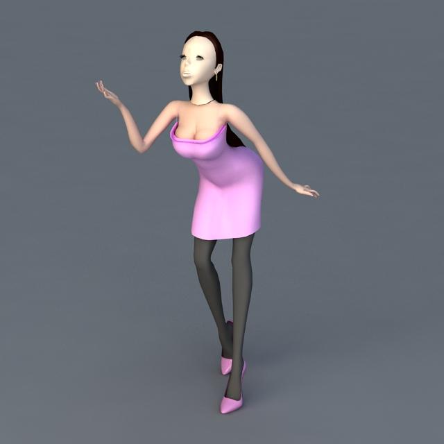 Cartoon Stylish Lady 3d rendering