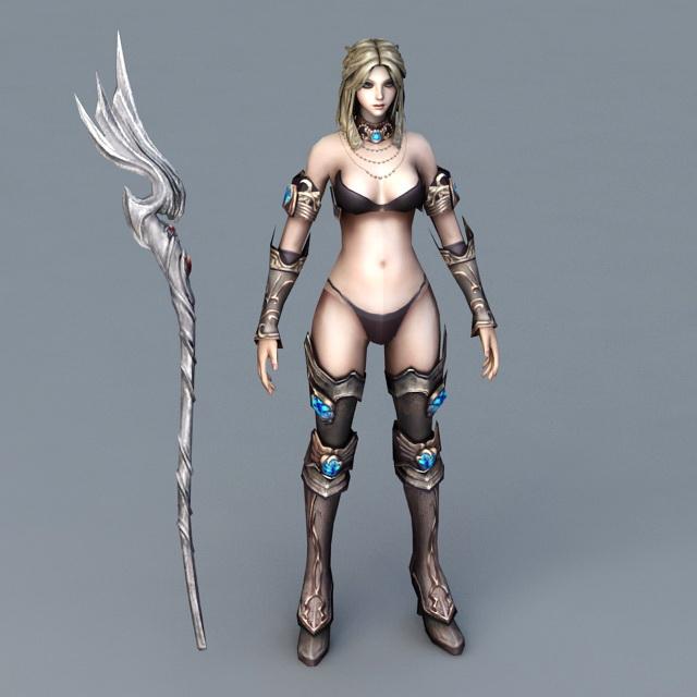 Female Battle Mage 3d rendering