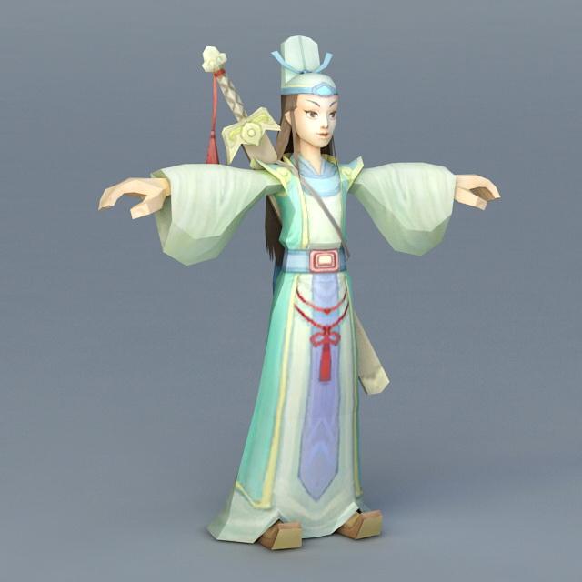Anime Chinese Swordsman 3d rendering