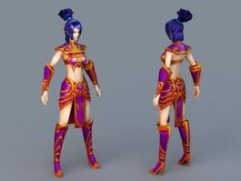Anime Female Warrior 3d model preview