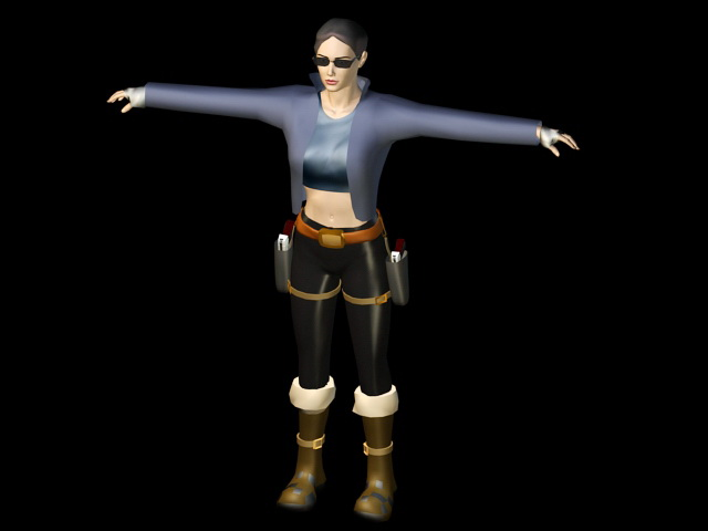 Lady with Gun 3d rendering