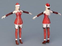 Christmas Santa Girl 3d preview
