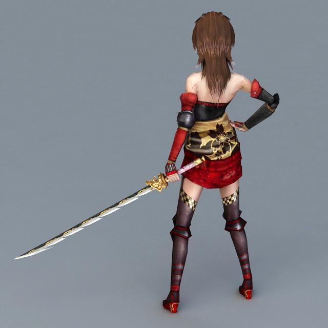 Women with Samurai Sword 3d rendering