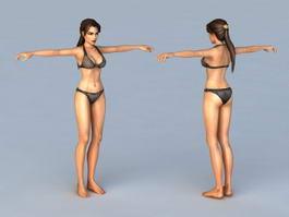 Woman with Black Bikini 3d preview