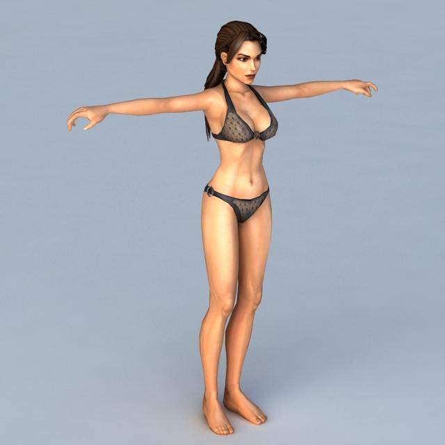 Woman with Black Bikini 3d rendering