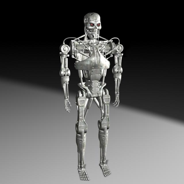 T-800 Endoskeleton Full Body 3d rendering