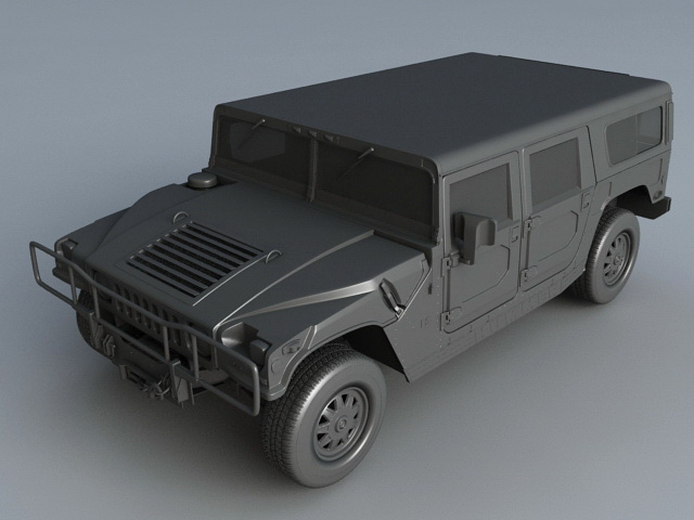 Military Hummer H1 3d rendering