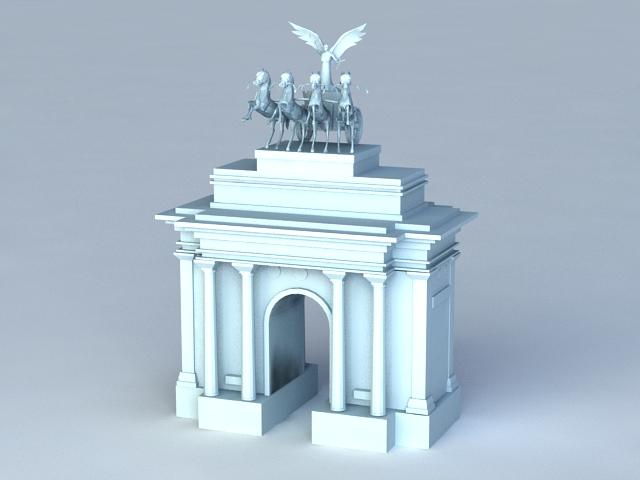 Wellington Arch London 3d rendering