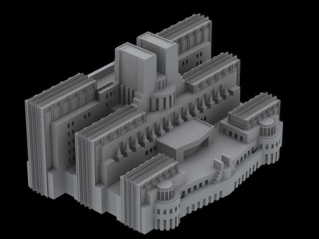 SIS Building in London 3d rendering