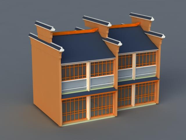 Terraced House 3d rendering