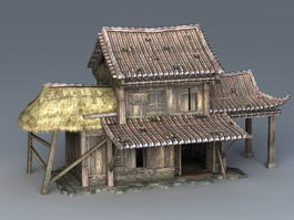 Ancient Chinese Wooden House 3d preview