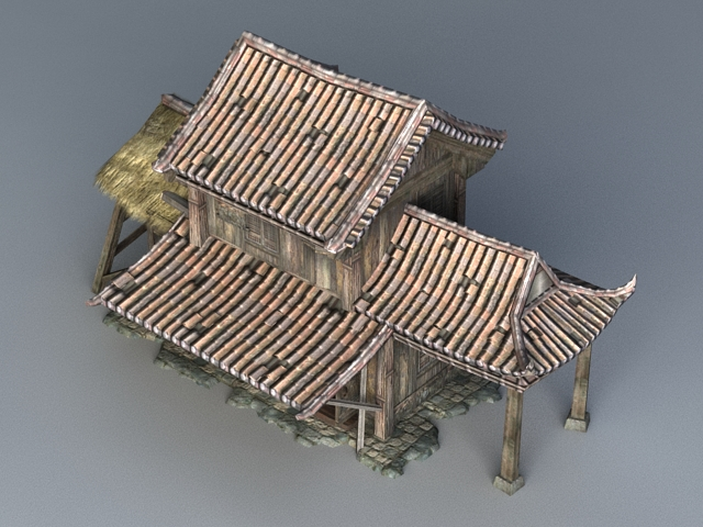 Ancient Chinese Wooden House 3d rendering