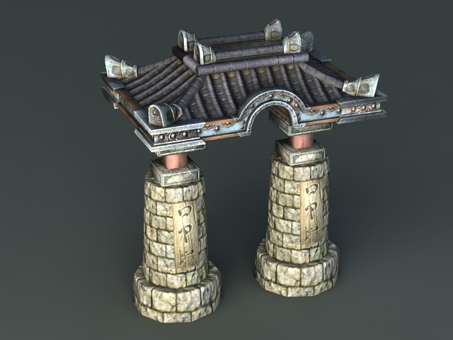 Ancient Stone Arch 3d rendering