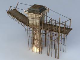 Wooden Medieval Drawbridge 3d model preview