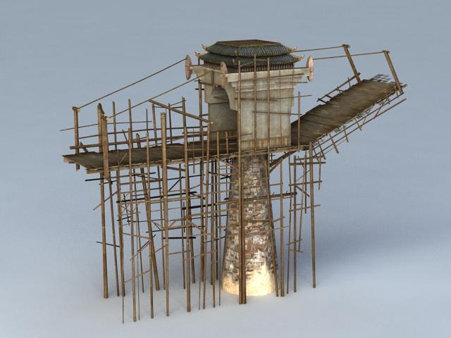 Wooden Medieval Drawbridge 3d rendering